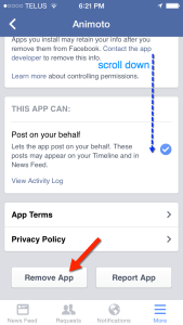 Remove the connected Facebook app