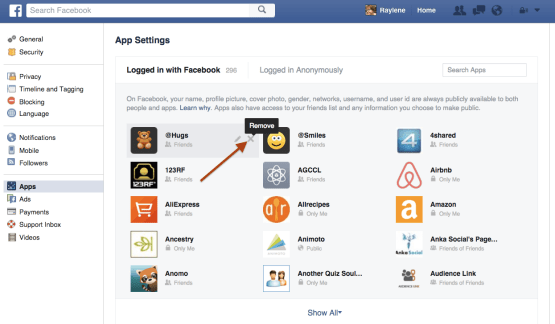 Logout of apps connected through Facebook