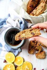 GlutenFree Orange and Cranberry Oat Biscotti