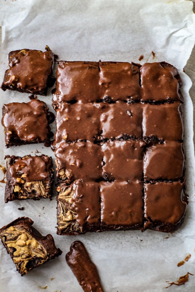 Chocolate peanut butter swirl brownies