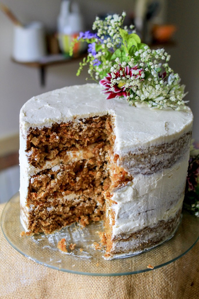gluten free carrot cake sliced
