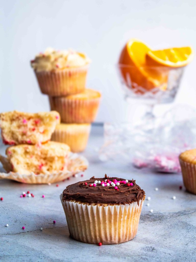 Gluten Free Citrus Sponge Cupcakes with Chocolate Frosting