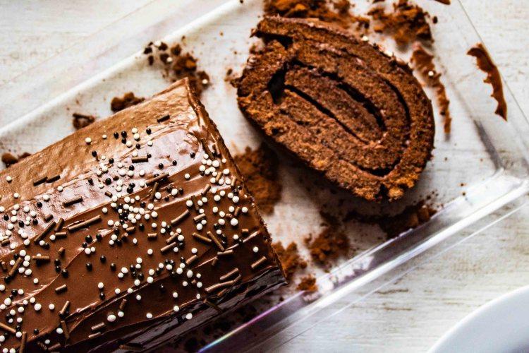 Gluten free Chocolate Nutella Swiss roll