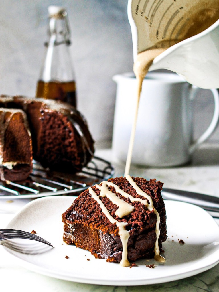 Gluten Free Chocolate Banana Bundt Cake Sliced