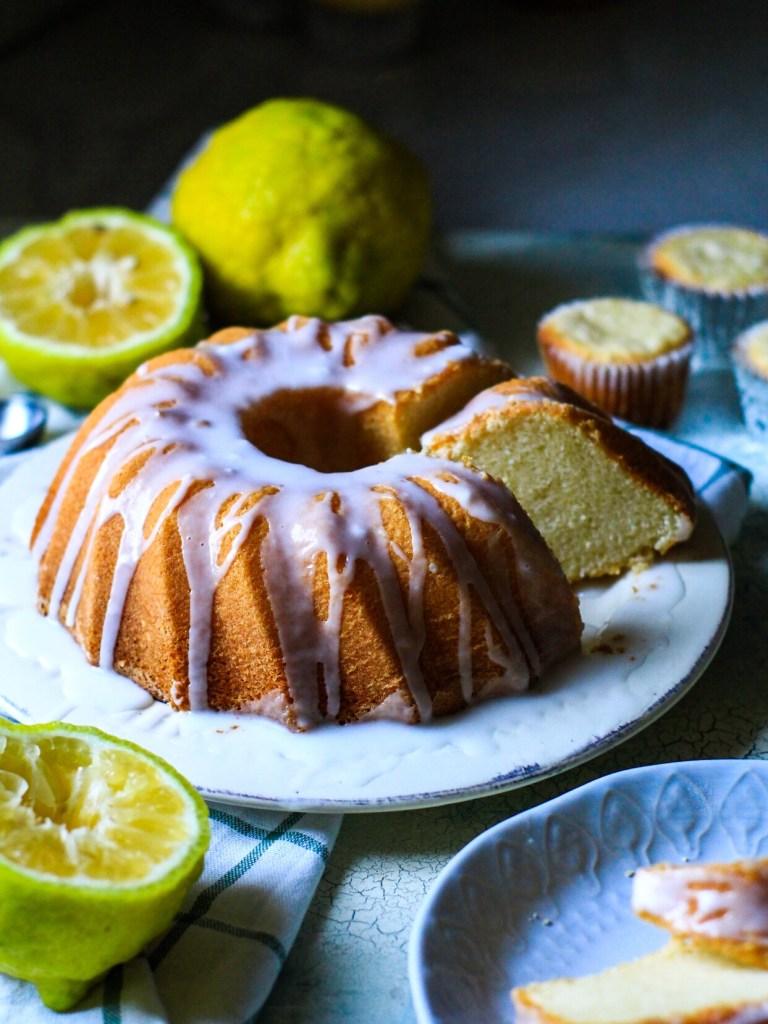 slice of Gluten Free Lemon Sponge Bundt Cake