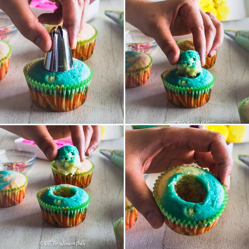 Removing center from cupcakes