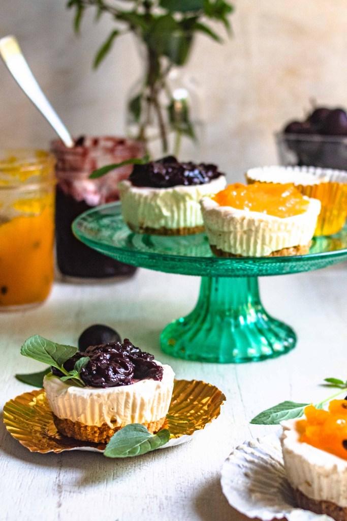 gluten free grain free cheesecake ice cream cups on cake stand