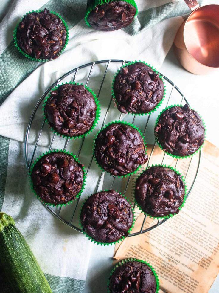 Flat lay of Gluten Free Refined Sugar Free Chocolate Zucchini Muffins