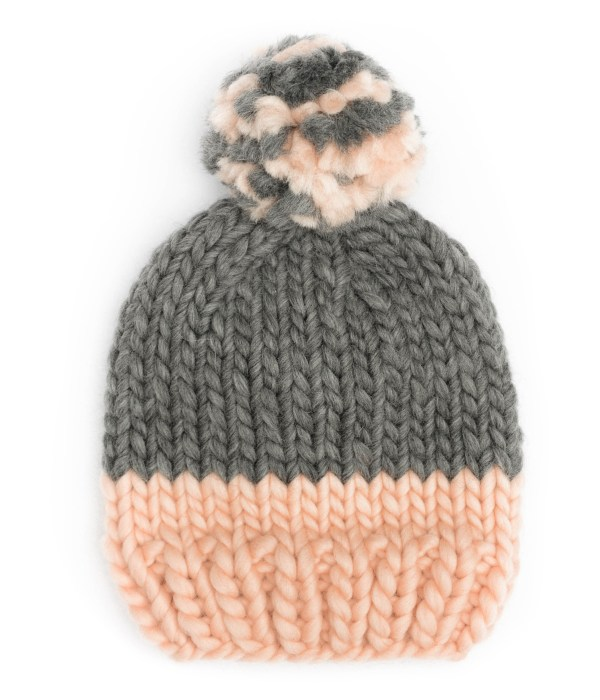 Handmade wool hats - Peach and grey block colour bobble hat. Click to customise.