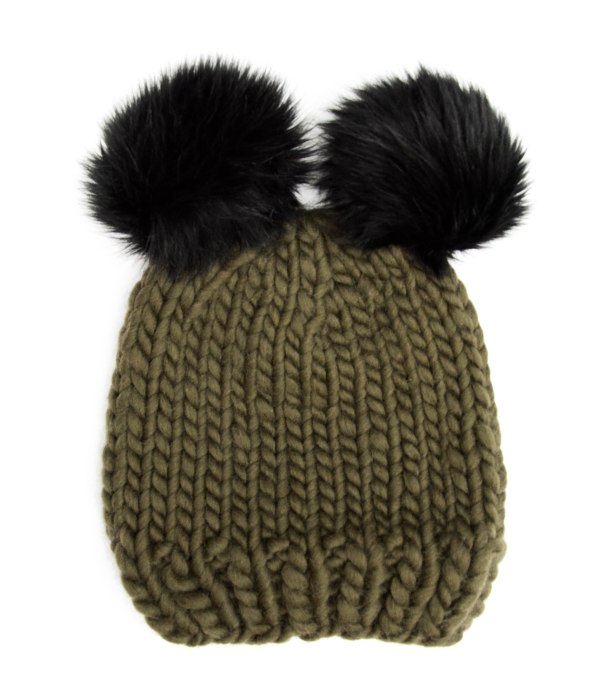 Handmade wool hats - Olive bobble hat with double black furry pompoms. Click to customise.