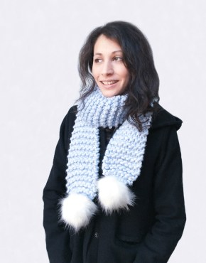 Handmade woolly scarves - Periwinkle scarf with white furry pom poms. Click to customise.