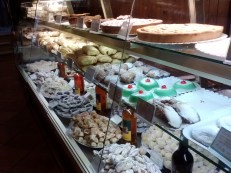 The main display case inside of the bakery.