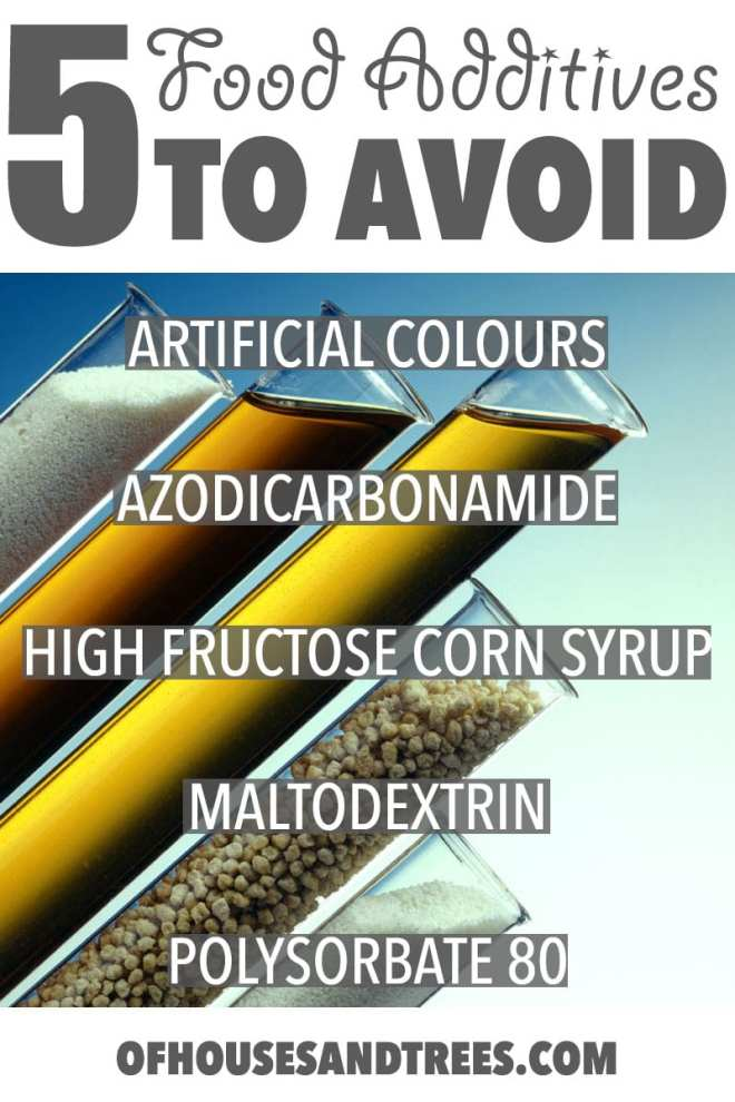 Food Additives to Avoid   Once you learn the five food additives to avoid there's no looking back. Somewhat bad for your tastebuds, truly amazing for your health.