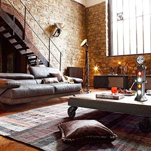 An industrial home decor style living room.