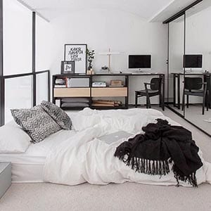A Scandinavian home decor style bedroom.