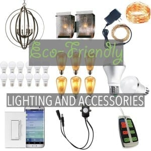 Eco-Friendly Lighting by Of Houses and Trees | Nowadays, you can find eco-friendly lighting fixtures that are made of recycled materials, as well cool accessories like LED Edison bulbs.
