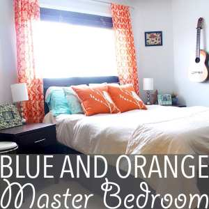 Blue and Orange Bedroom | Love unusual colour combos like blue and orange? How about a blue and orange bedroom! Gorgeous orange curtains and pops of turquoise transform a blah space.