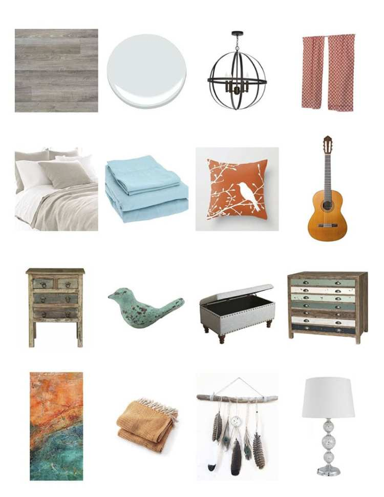 You may be wondering how to print a Pinterest board or how to save a Pinterest board as a PDF. Perhaps all you want to do is save a Pinterest board offline. This blue and orange bedroom design board was created in Pinterest and printed off without the use of any photo editing software!