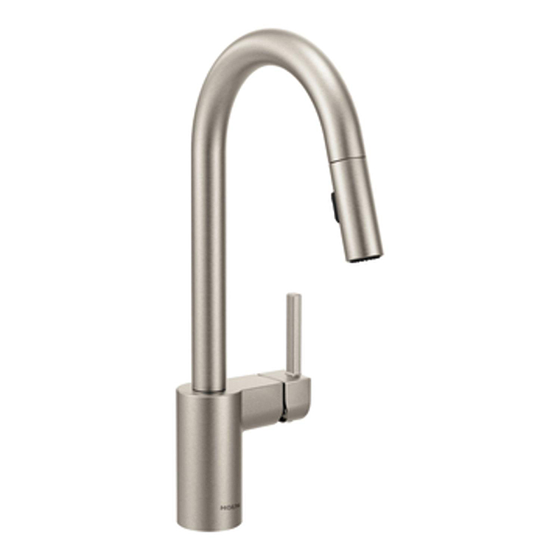 """Welcome to the next entry in my """"Green This Look"""" series, featuring a rustic industrial style kitchen filled with très cool and earth-friendly finishes! Like a WaterSense certified faucet."""