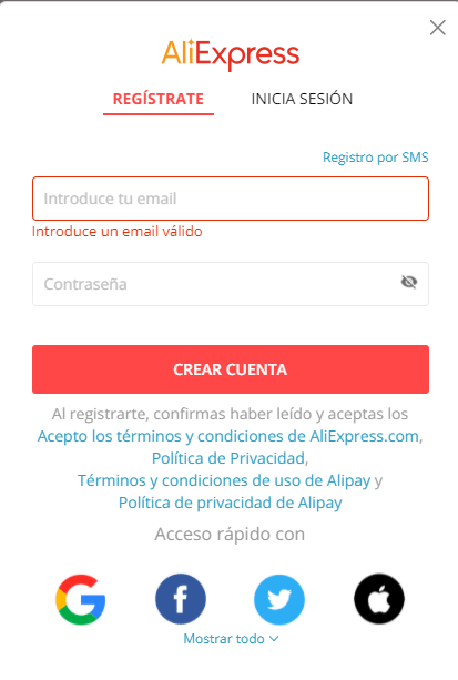 Como registrarse en aliexpress