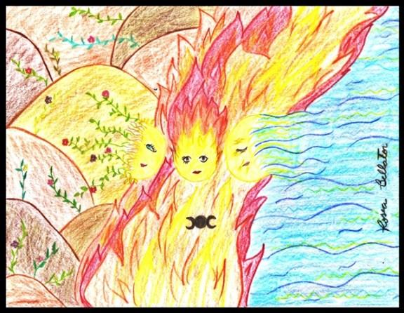Wicca ou não, se você sente necessidade de se iniciar, apenas saiba o porque de estar fazendo isso e saiba quais as consequências por seus atos. Desenho: Rosea Bellator - A Deusa Tríplice.