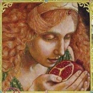 "Arte do livro ""Persephone and the Pomegranate"" de Kris Waldherr."