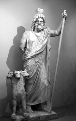 Hades e Cerberus, estátua antiga do Museu Arqueológico de Heraklion.