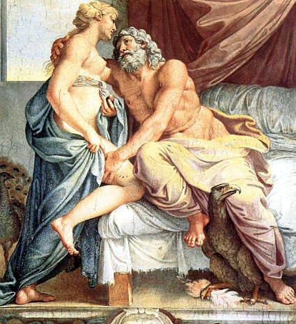 compromissos do coração -Hera e Zeus, também conhecidos como Júpiter e Juno, obra de Annibale Carraci.