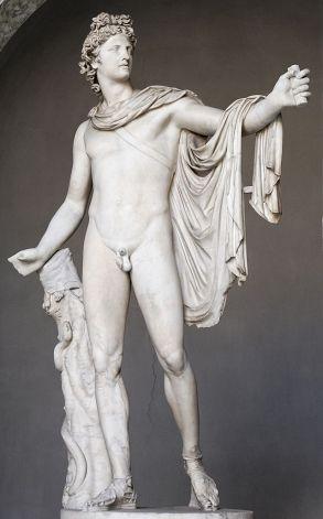Apolo Belvedere, a mais célebre representação do deus. Original grego atribuído a Leocarés, hoje nos Museus Vaticanos
