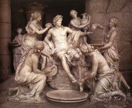 Apolo com as ninfas (o banho de Apolo), esculpida em mármore e rocha de gruta por François Girardon, entre 1666-1675.