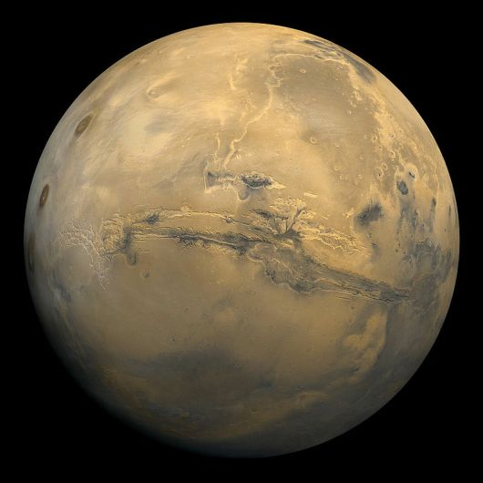 Global mosaic of 102 Viking 1 Orbiter images of Mars taken on orbit 1,334, 22 February 1980. NASA.