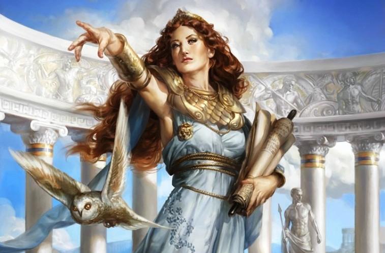 Athena, além de deusa da Guerra e da Estratégia, também é deusa da sabedoria e do conhecimento. ilustração de Cynthia Sheppard.