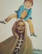 Niño burlándose de la muerte en la portada de Fatras de Jacques Prévert