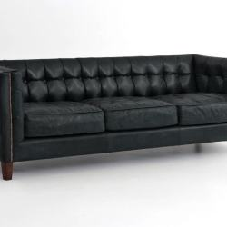 Dylan Black Leather Tufted Tuxedo Sofa
