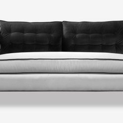 Black and White Dylan Midcentury Tufted Love Seat