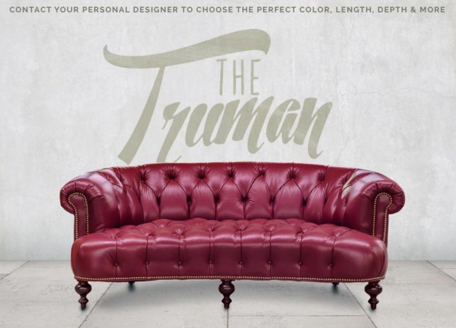 The Truman, a Button Tufted Curved Chesterfield Sofa in Red Leather