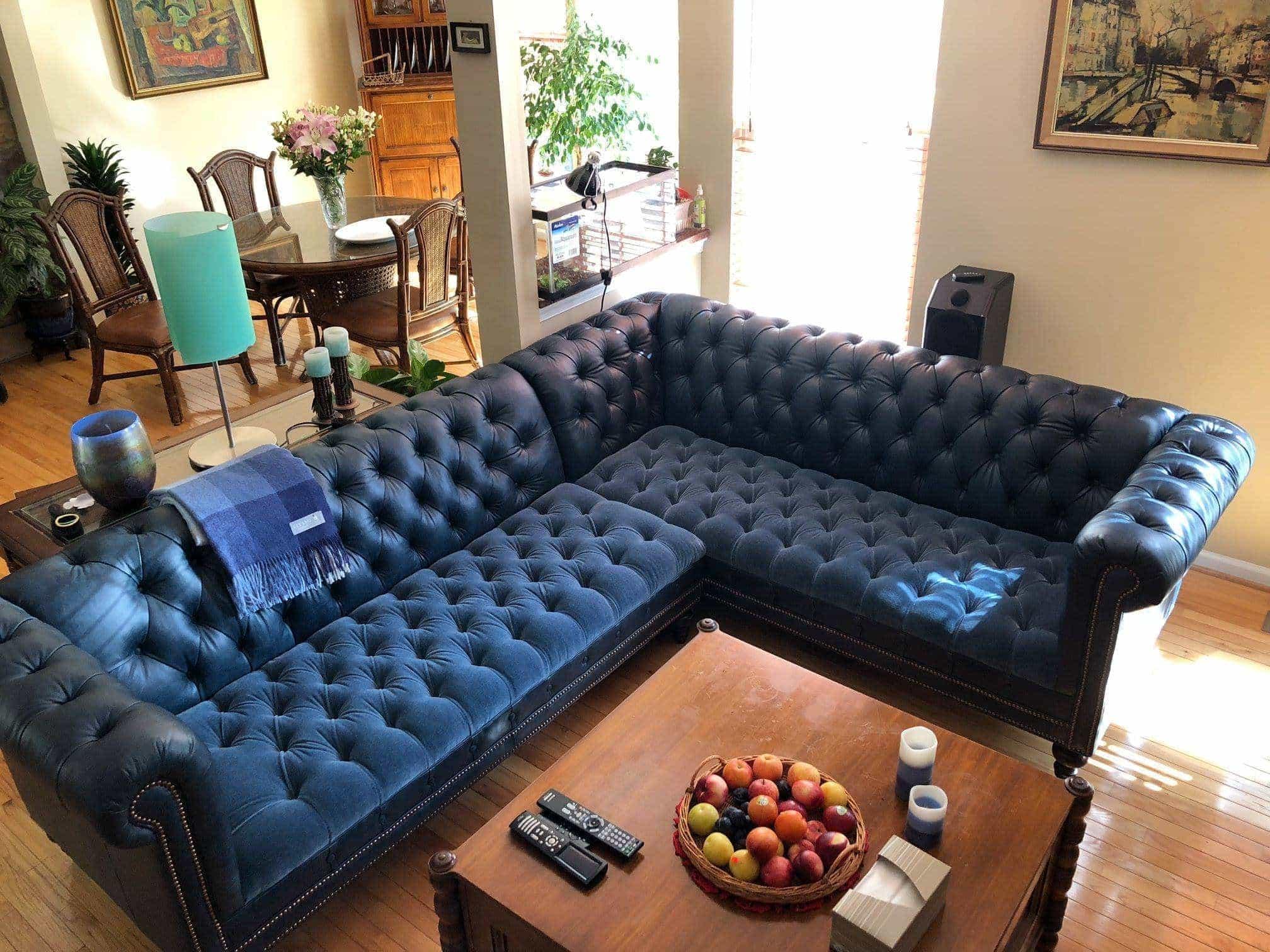 custom navy blue velvet leather