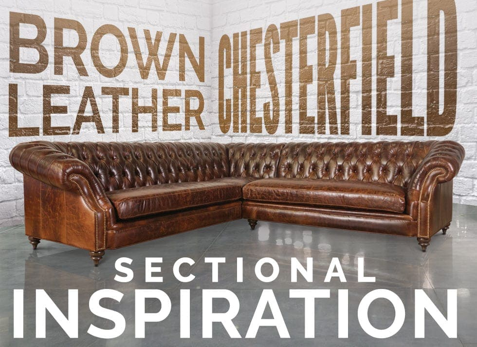 brown leather chesterfield sectional