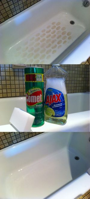Get a sparkling clean bathtub using Comet, a Magic Eraser and Ajax soap.