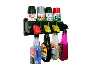 Use a wall mounted spray can holder to store spray paint and other products in your garage.