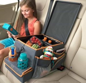 Use a multi-purpose car organizer to keep snacks and activities for small children on long road trips.