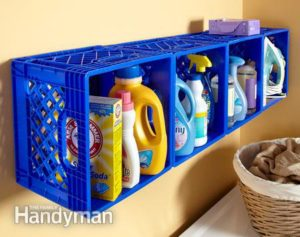 Repurpose old plastic crates to store laundry detergent and other household items.