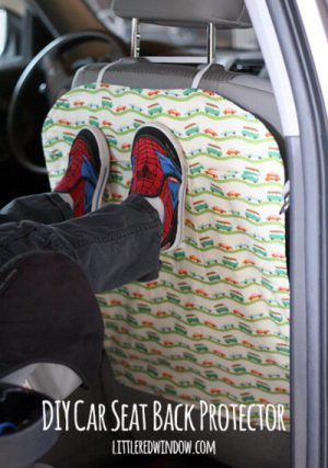 Make a DIY Backseat Protect to cover your car seats and shield them from little dirty feet.