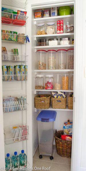 If you have a tiny pantry, install over the door shelving for additional storage space.