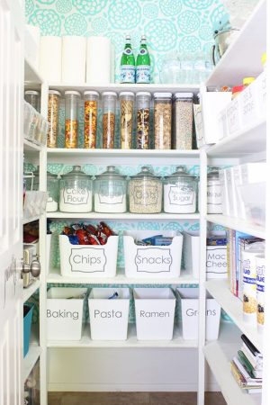 Label large containers in your pantry with printable decals or stickers.