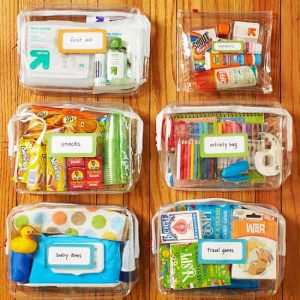 Make grab and go mini bags for your kids to take along during long road trips.