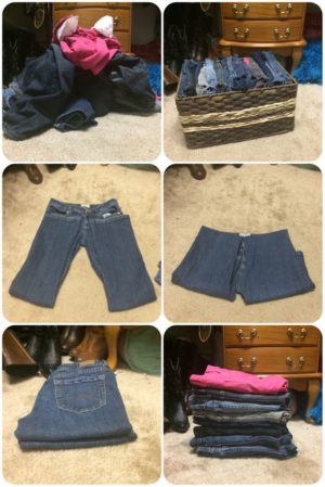 This is how you fold jeans. Genius! Make sure to pin this to your followers. They will love this.
