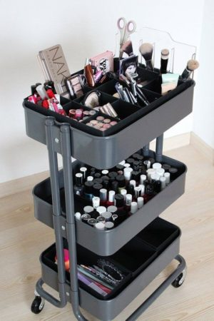 Organize all of your beauty supplies with this IKEA cart.