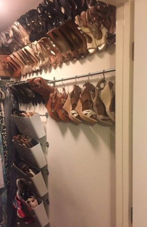 Install curtain rods in your closet and use s-hooks to hang your shoes.