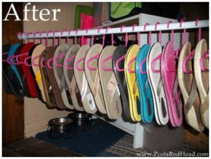 Use kid clothing hangers to hang and organize your flip flops.